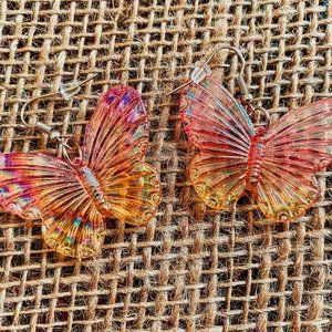 SHIMMER CLEAR BUTTERFLY EARRINGS. NEW.